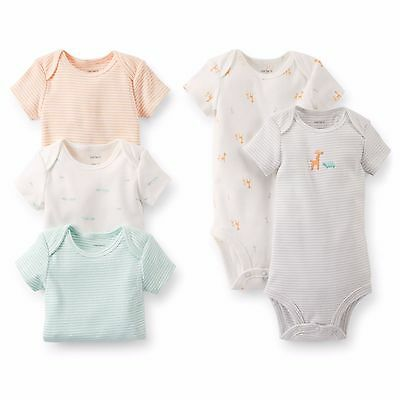 CARTER'S 5PK BODYSUITS FOR INFANT BOYS~GIRAFFE THEME~SIZE 6, 9 OR 12M~NEW W/TAGS