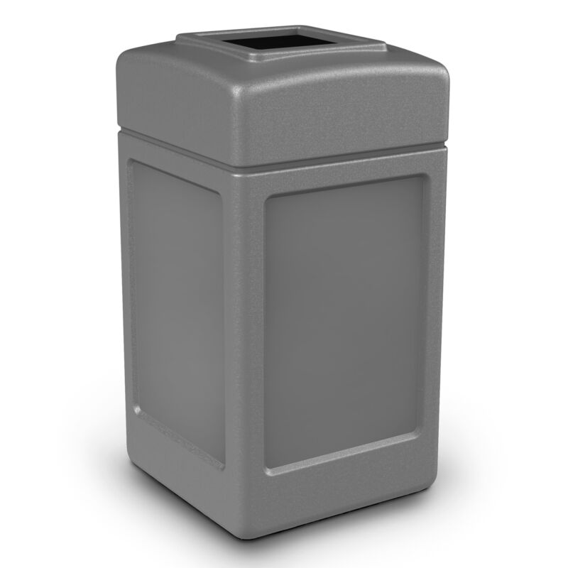 Commercial Zone 732103 Open-Top Square 42 Gallon Waste Trash Container, Gray