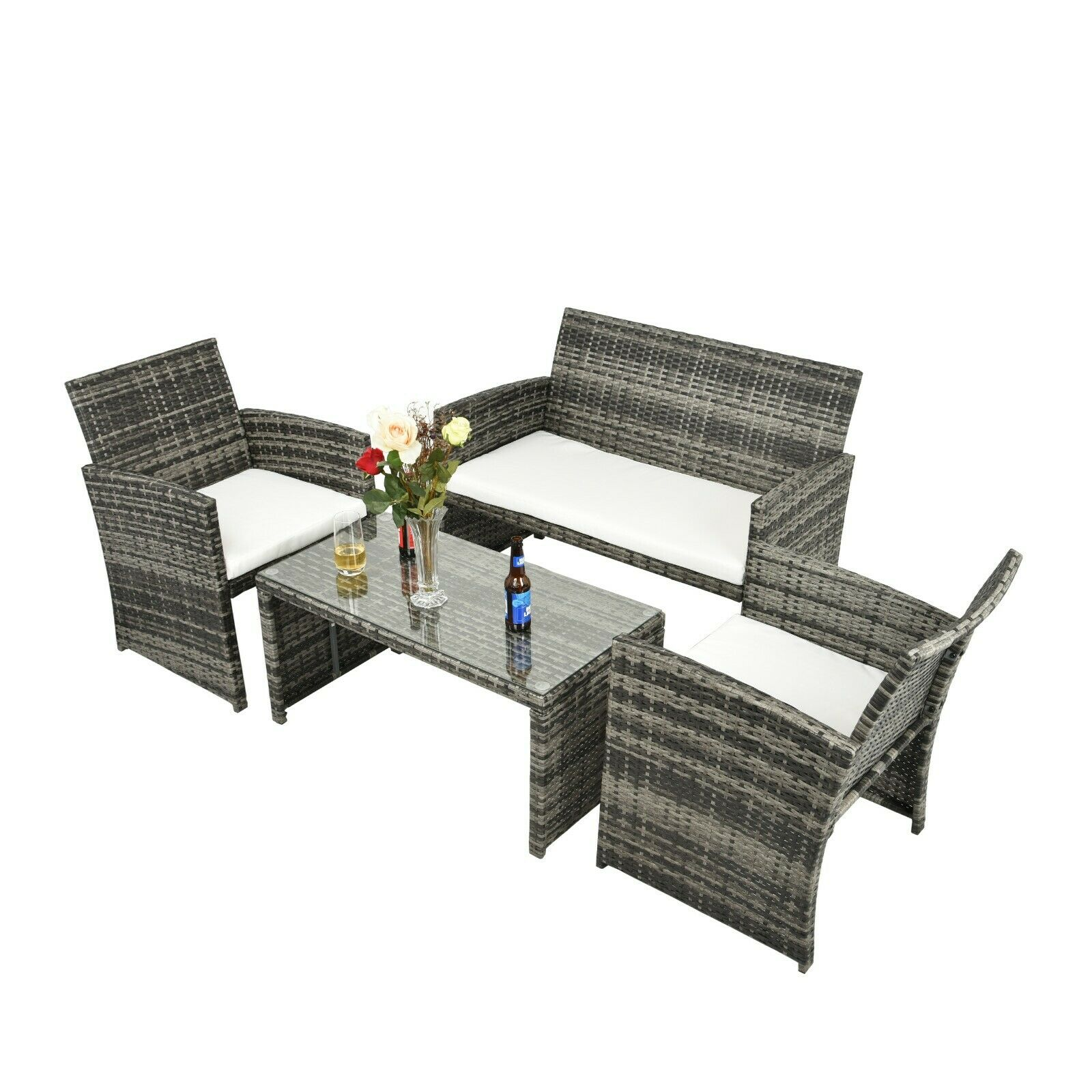 Garden Furniture - 4 PCS Outdoor Patio Rattan Wicker Furniture Sets Garden Balcony Cushioned Sofa