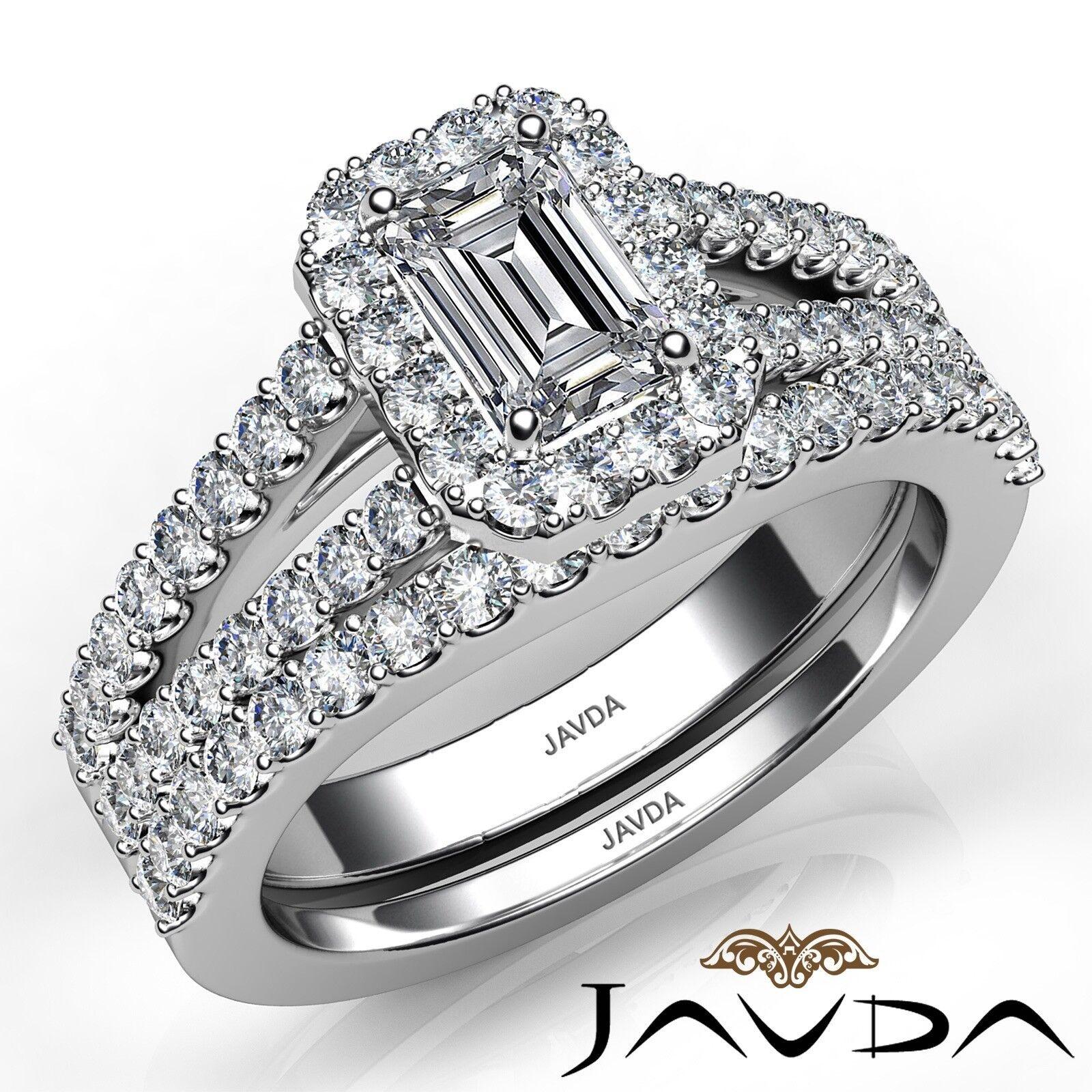 1.75ctw Halo Sidestone Bridal Emerald Diamond Engagement Ring GIA H-VS2 W Gold 1