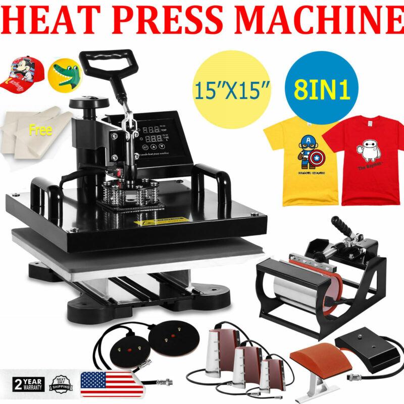 "15""x15"" 8 in 1 Heat Press Machine Digital Transfer Sublimation T-Shirt Mug Hat"