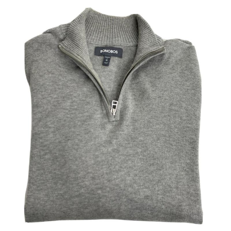 Bonobos Cotton Cashmere Rib Knit Piped 1/4 Zip Grey Sweater Men's Medium