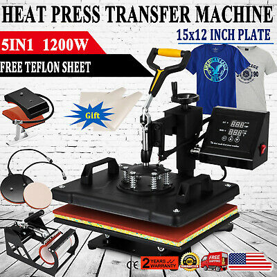Digital 5in1 Transfer Heat Press Machine 15x12 Sublimation T-shirt Mug Hat