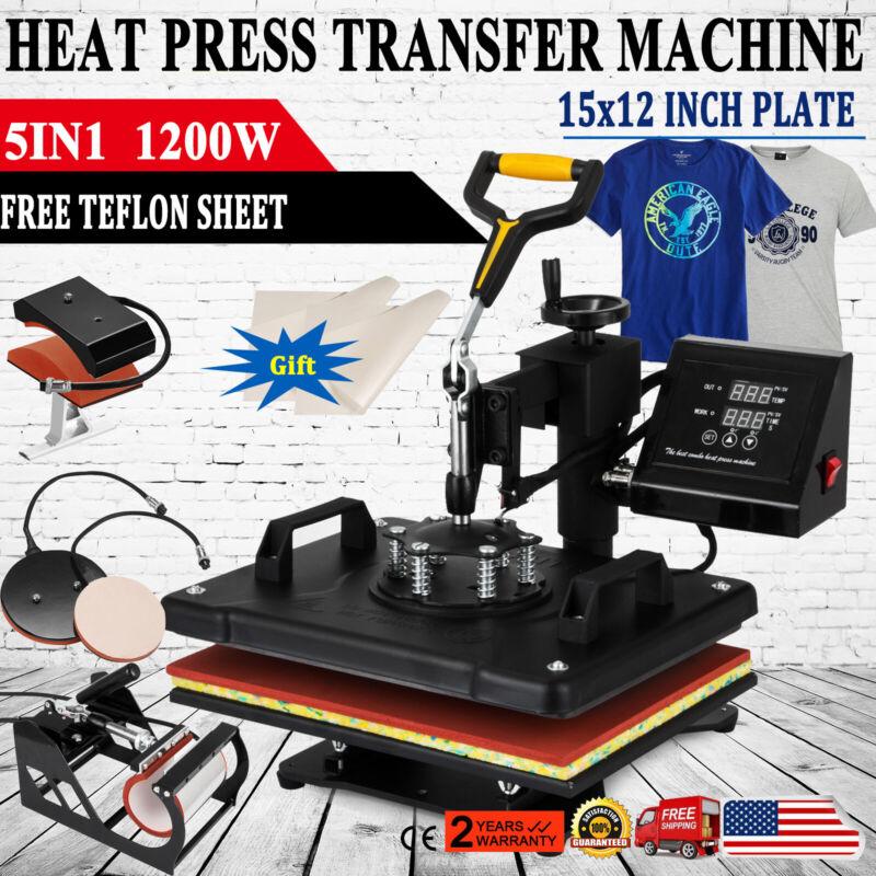 "Digital 5in1 Transfer Heat Press Machine 15""X12"" Sublimation T-Shirt Mug Hat"