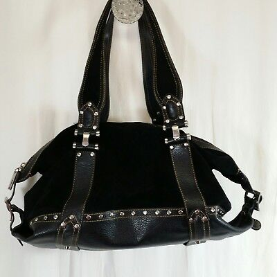 Maxximum Suede And Leather Shoulder Bag Satchel Black Leopard Print Lining
