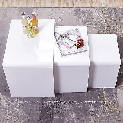 White  High Gloss MDF Side End Beside Tables Living Room Nest of 3 Coffee Tables