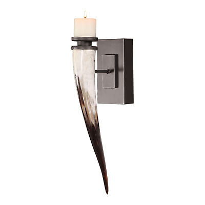 Nature Iron Sconce (Luxe Natural Horn Candle Holder Wall Sconce | Longhorn Ranch Lodge Iron)