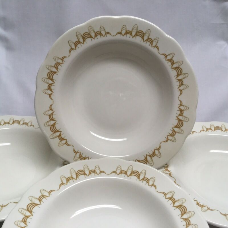 "Set of 4 Buffalo China Gold Atomic Colonnade 9"" Bowls - Gold Swirls"