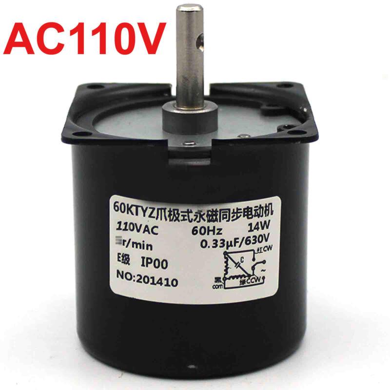 US Stock Synchronous Motor 60KTYZ AC 110V 60Hz 1 rpm/m CW/CCW 14W Gear Motor
