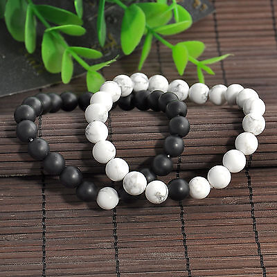 2pcs His & Hers Distance Bracelet Lava Bead Matching YinYang Lovers Gift