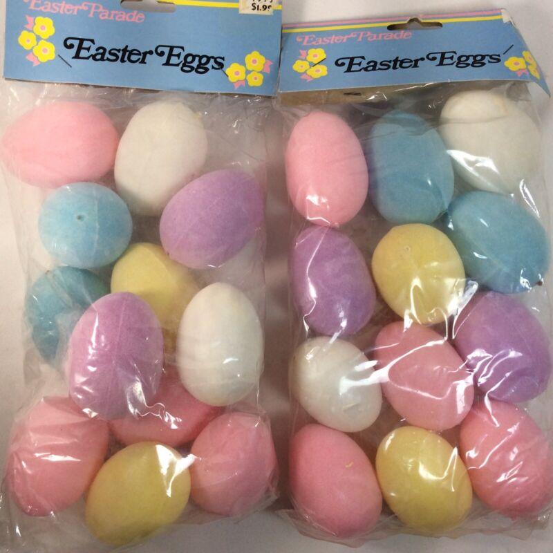 Vintage Flocked Plastic Easter Eggs Pastel Colors Decorations 24 Eggs New