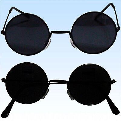 2 x 70er Jahre Hippie Brille SCHWARZ Sonnenbrille Flower Power Lennon Vintage ()