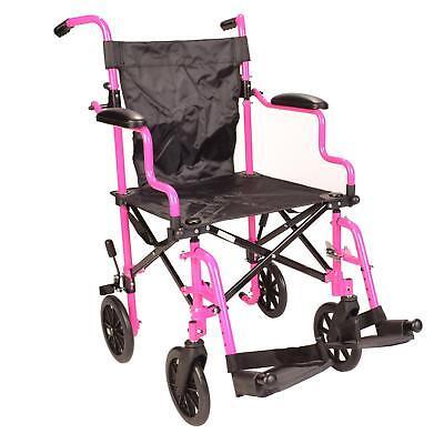 Ultra Lightweight pink Folding travel transport aluminium wheelchair in - Lightweight Travel Wheelchair