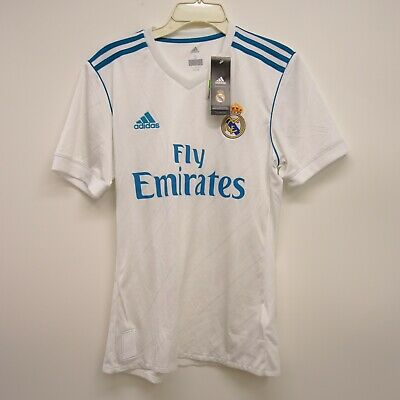 41e358d8395 Adidas Size Small Mens Real Madrid Soccer Fly Emirates White Jersey Shirt  New