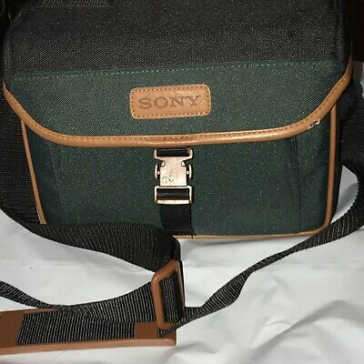 Vintage Sony Handycam Camcorder Video 8 Camera Bag Strap Case Leather Green for sale  Shipping to India