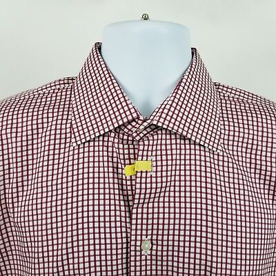 Mens L/s Mini (Hickey Freeman Mens Red Mini Check L/S Dress Button Shirt Sz 16)