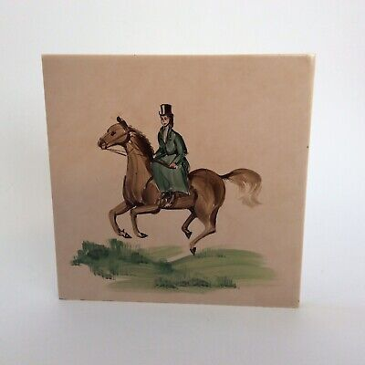 Vintage CAMPBELL TILE CO LTD Handpainted Tile Of Lady On Horse