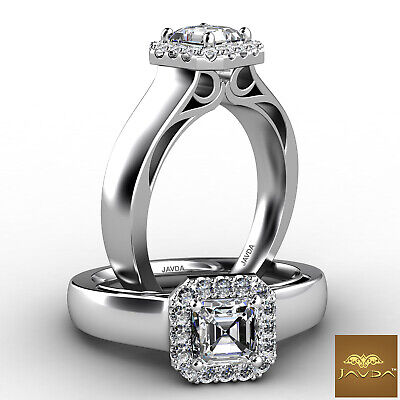 Asscher Cut Halo Pave Set Diamond Engagement Ring GIA F VS2 18k White Gold 0.7Ct