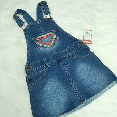 New CAT & JACK Girls Overalls Dress Embroidered Heart Dark Denim Wash, XS (4/5)