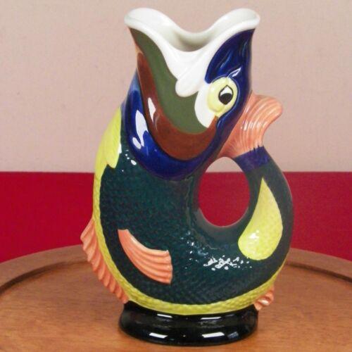 "Gluggle Jug Gurgling Fish By Wade Ceramics Pitcher Vase England 8.5"" MINT"