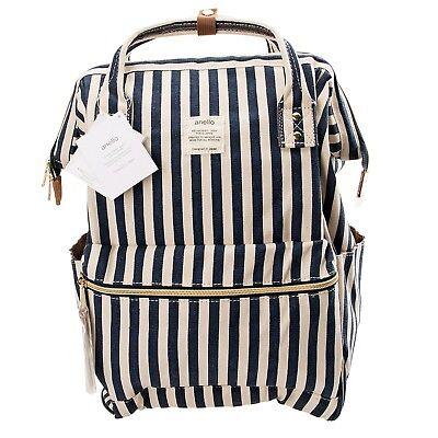 4acda1f0528 Anello Blue w/ White Stripe Japan Unisex Fashion Backpack Rucksack Diaper  Bag