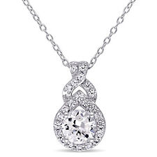 """Amour Sterling Silver Created White Sapphire Drop Necklace Pendant 18"""" 925"""