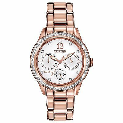 Citizen Eco-Drive Women's FD2013-50A Silhouette Crystals Rose Gold 37mm Watch