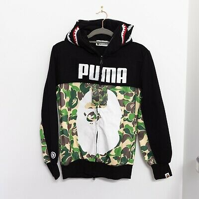 Bape X Puma Hoodie Bathing Ape Shark Head Camo Size S (see description)