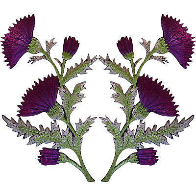 Pair of Purple Thistle Flower Patches Iron Sew On Embroidery Patch Badge Flowers Purple Thistle