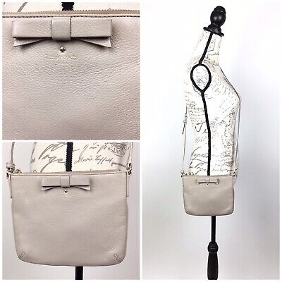 KATE SPADE Bow Detail Crossbody Soft Beige Leather Bag