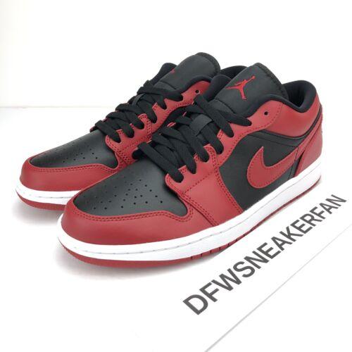 Nike Air Jordan 1 Low Men's 10 Reverse Bred Varsity Red Bl