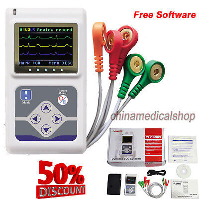 24 Hours Dynamic Ecg Holter 3 Channel Ekg System Portable Ecg Monitorsoftware