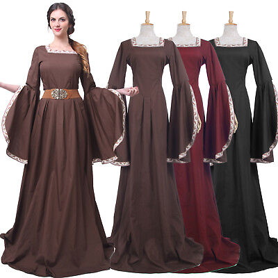 Medieval Costume Renaissance Women Long Bell Sleeve Queen Gown Dress (Bell Sleeve Womens Kostüm)