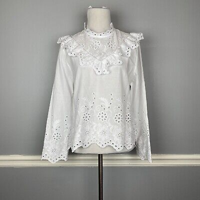 Zara Womens Size L Eyelet Embroidered Blouse Top Ruffle Trim High Neck White