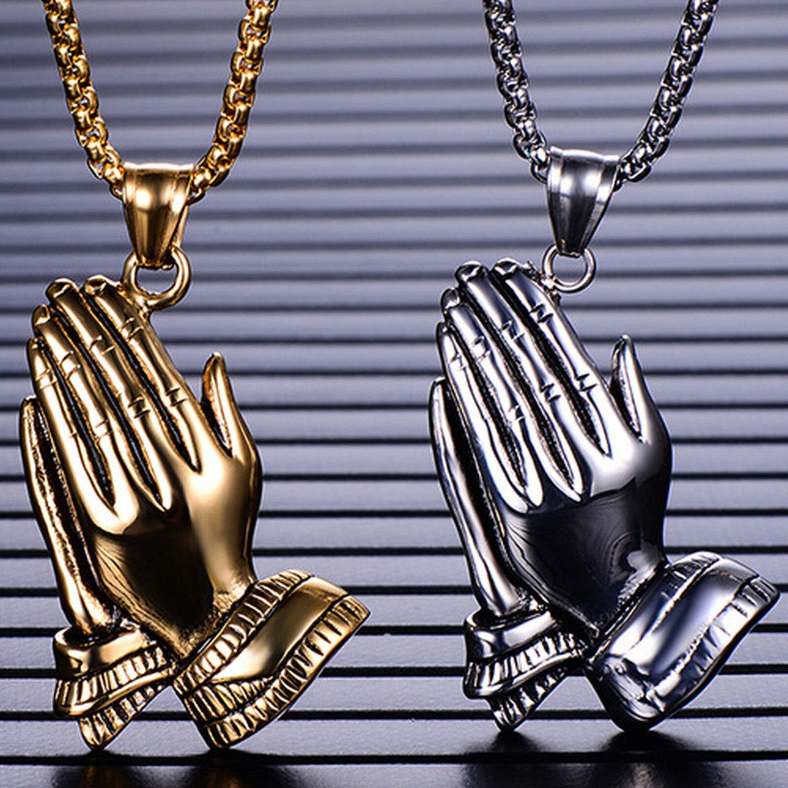 Men's Stainless Steel Large Praying Hands Pendant Necklace Chains, Necklaces & Pendants
