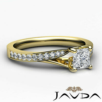 Cathedral Pave Set Princess Diamond Engagement Split Shank Ring GIA E VS2 0.85Ct 9