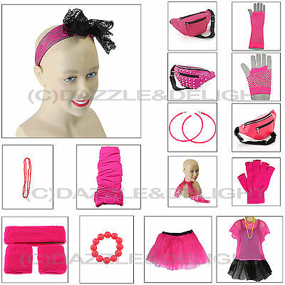 NEON PINK 1980s FANCY DRESS LEG WARMERS TUTU TOP NECKLACE EARRINGS 80s HEN PARTY (1980 S Costumes)