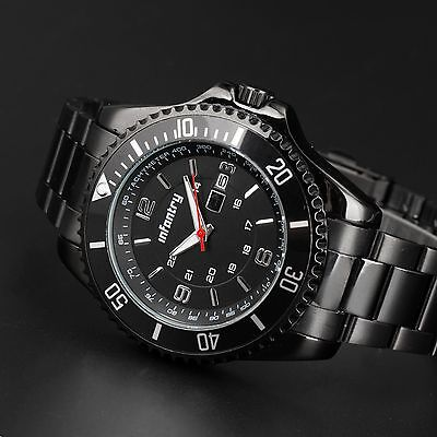 INFANTRY MENS QUARTZ WRIST WATCH DATE SPORT MILITARY ARMY BLACK STAINLESS STEEL