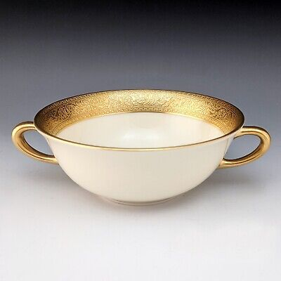 Lenox China WESTCHESTER Cream Soup Bowl Double Handled Gold Encrusted 1st Qlty