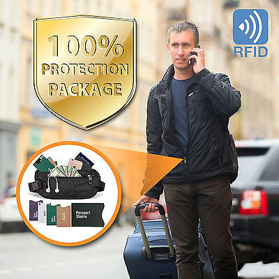 Money Belt - Passport Holder Secure Hidden Travel Wallet with RFID Blocking US (Concealed Wallet)