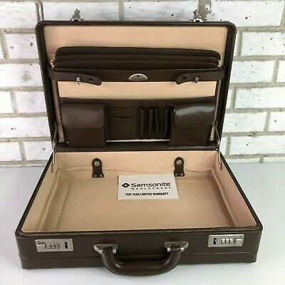 Samsonite Brown Leather Briefcase Expandable File Organizer Looks Never Used.