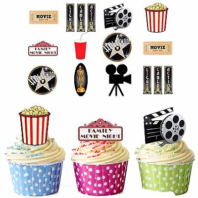 PRECUT Hollywood Film / Movie Party Night 36 Edible Cupcake Toppers Decorations ()