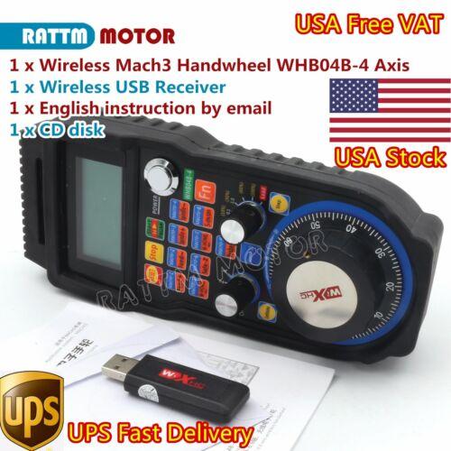 USA:4 Axis Wireless CNC Handwheel USB Mach3 MPG Pendant Machine Lathe Controller