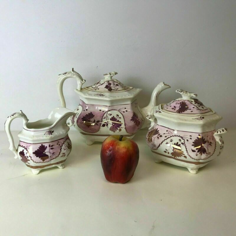 Large 19th C English Pink Luster Teapot Creamer & Sugar
