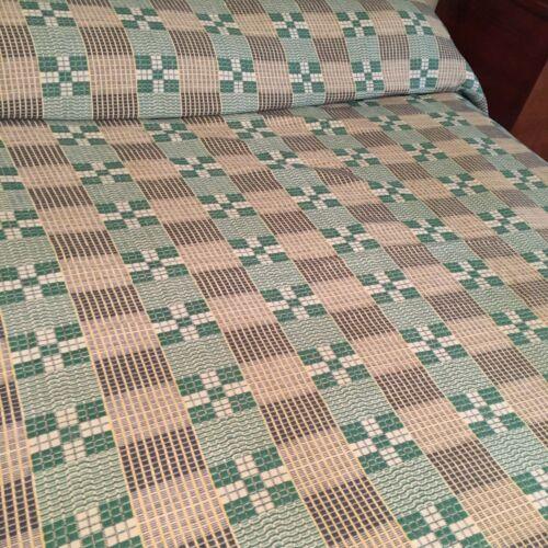 Vintage Hand Woven Bedspread Coverlet 68 x 90 Green Yellow Ecru Appalachia KY