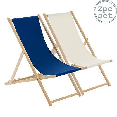Wooden Deck Chair Folding Garden Beach Seaside Deckchair Navy Cream Set of 2