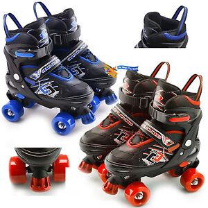 Childs Junior Adjustable Quad Roller Skates Boots Childrens Kids 4 Wheel Rollers