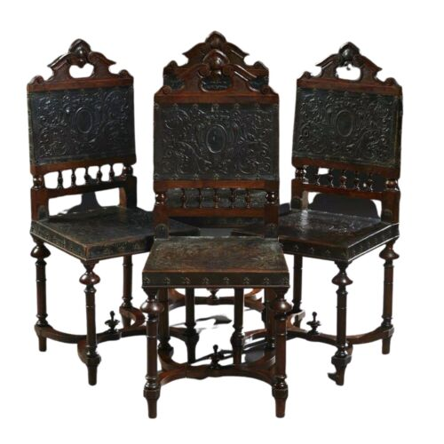 Antique Chairs, Dining, French Henri II Style Carved Walnut, Set of Four Side!!