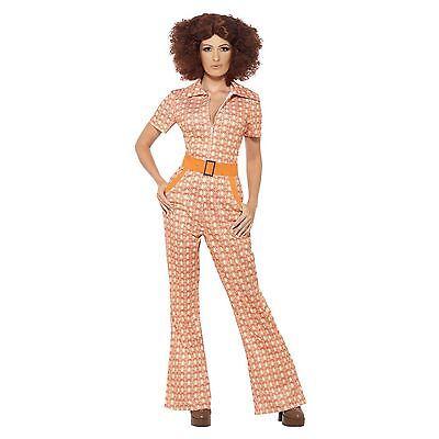 Damen Disco 70er Jahre 80er Jahre Schick Orange Overall Foxy Era Party Kostüm