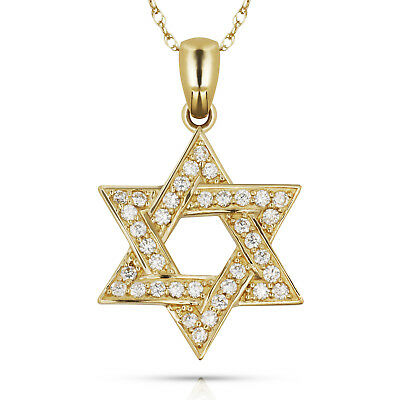 0.78 CTW Diamond Religious Star Of David Pendant 14k Solid Yellow Gold w/ Chain
